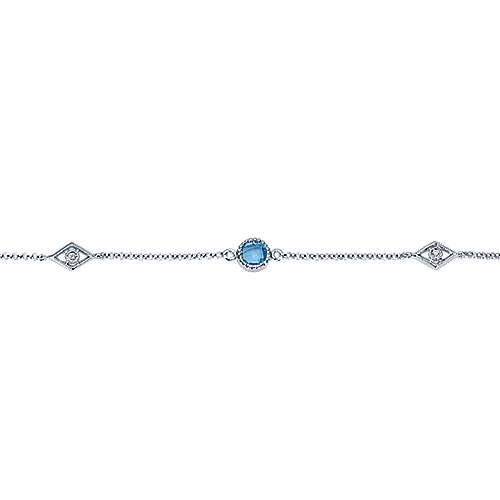 925 Silver Color Solitaire Chain Bracelet angle 2