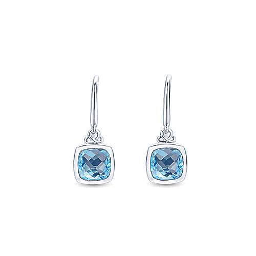 925 Silver Color Solitaire Drop Earrings angle 1