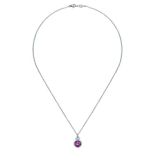 925 Silver Color Solitaire Fashion Necklace angle 2