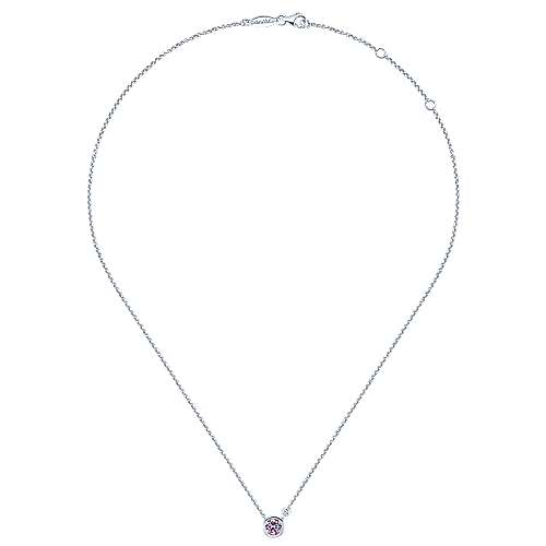 925 Silver Color Solitaire Fashion Necklace angle 2