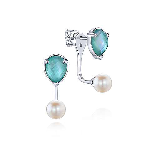 925 Silver Color Solitaire Peek A Boo Earrings angle 1