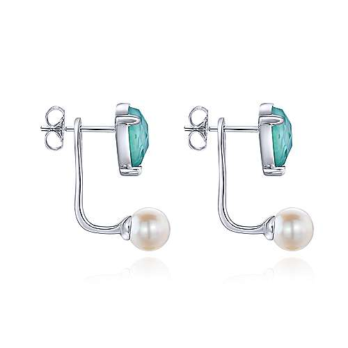 925 Silver Color Solitaire Peek A Boo Earrings angle 3