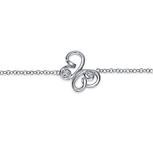 925 Silver Contemporary Butterfly Bracelet angle 2