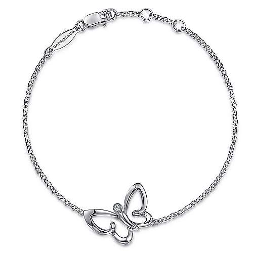 925 Silver Contemporary Butterfly Bracelet
