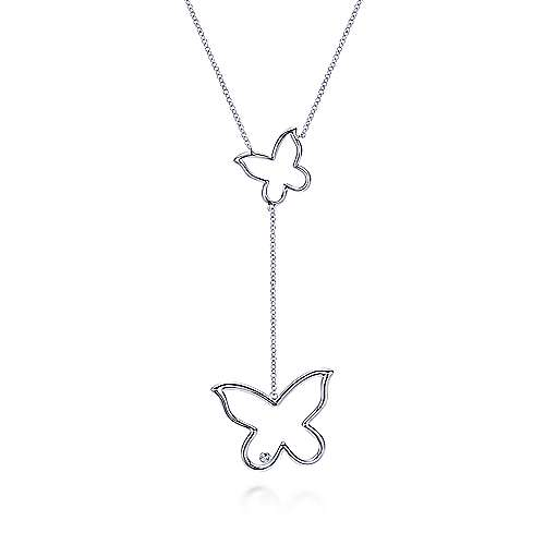 925 Silver Contemporary Butterfly Necklace angle 1