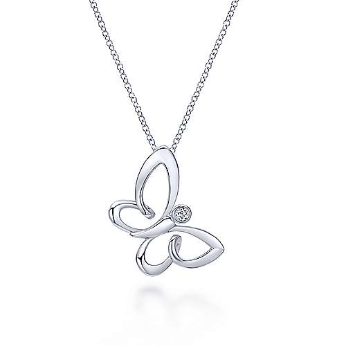 925 Silver Contemporary Butterfly Necklace