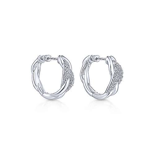 925 Silver Contemporary Classic Hoop Earrings angle 1