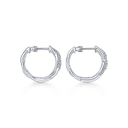 925 Silver Contemporary Classic Hoop Earrings angle 2