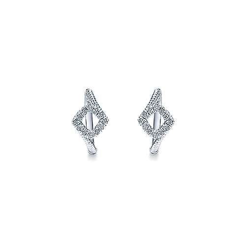 925 Silver Contemporary Huggie Earrings angle 3