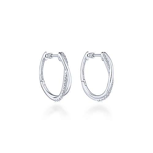 925 Silver Contemporary Huggie Earrings angle 1