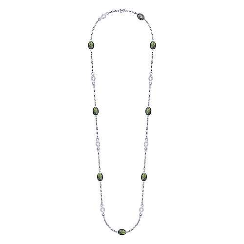 925 Silver Contemporary Station Necklace angle 2