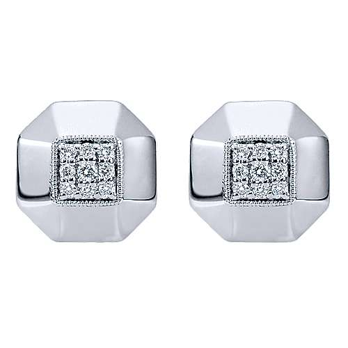 925 Silver Contemporary Stud Earrings angle 1