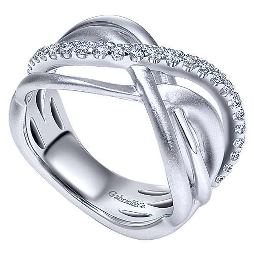 925 Silver Contemporary Wide Band Ladies' Ring angle 3