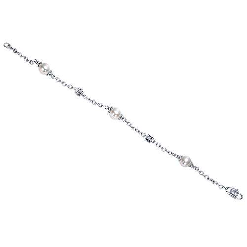 925 Silver Cultured Pearl Chain Bracelet angle 3