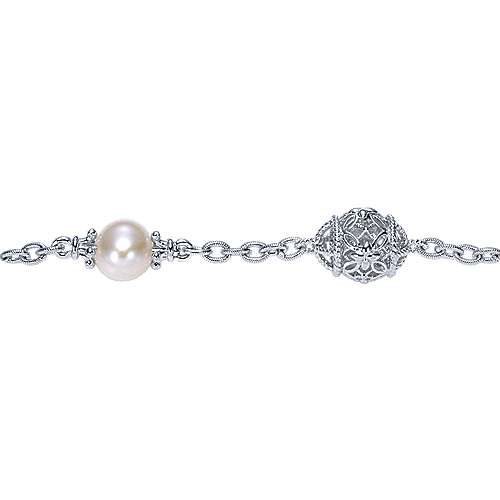 925 Silver Cultured Pearl Chain Bracelet angle 2