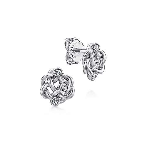 Gabriel - 925 Silver Contemporary Stud Earrings