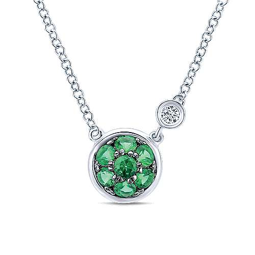 925 Silver Diamond  And Emerald Fashion Necklace angle 1