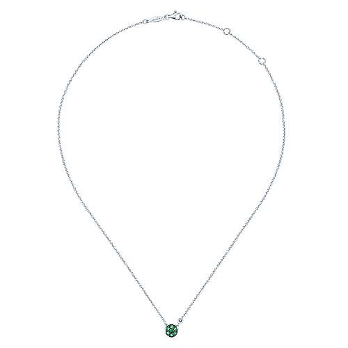 925 Silver Diamond  And Emerald Fashion Necklace angle 2