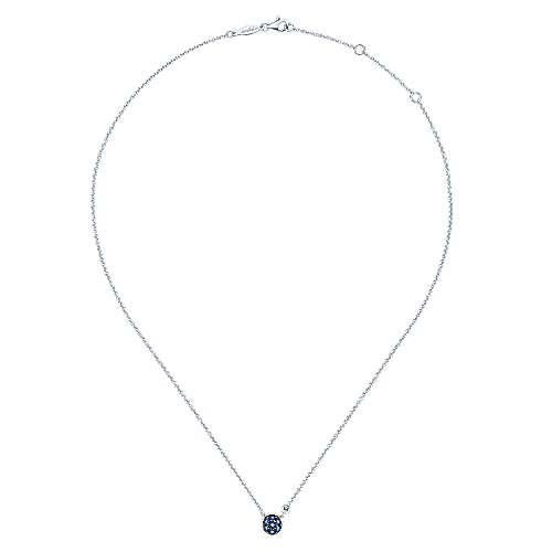925 Silver Diamond  And Sapphire Fashion Necklace angle 2
