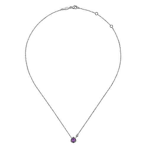 925 Silver Diamond Amethyst Fashion Necklace angle 2