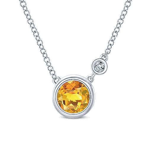 925 Silver Diamond Citrine Fashion