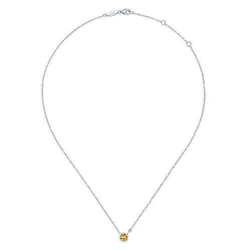 925 Silver Diamond Citrine Fashion Necklace angle 2