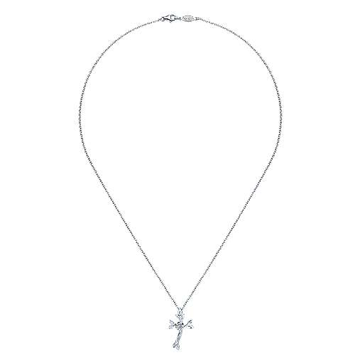 925 Silver Diamond Cross Necklace angle 2