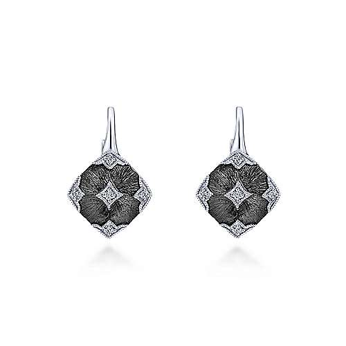 925 Silver Diamond Drop Earrings angle 1