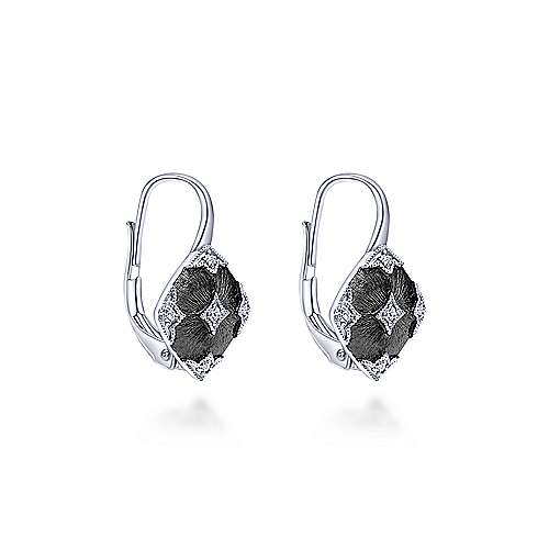 925 Silver Diamond Drop Earrings angle 2