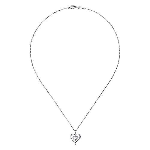 925 Silver Diamond Heart Necklace angle 2