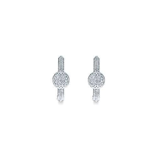 925 Silver Diamond Huggie Earrings angle 3