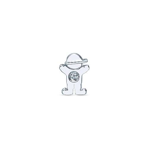 925 Silver Diamond Locket Charm Pendant angle 1
