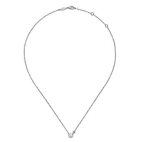 925 Silver Diamond Pearl Fashion Necklace angle 2