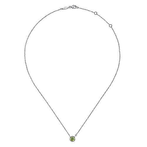 925 Silver Diamond Peridot Fashion Necklace angle 2
