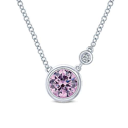 925 Silver Diamond Pink Created Zircon Fashion Necklace angle 1