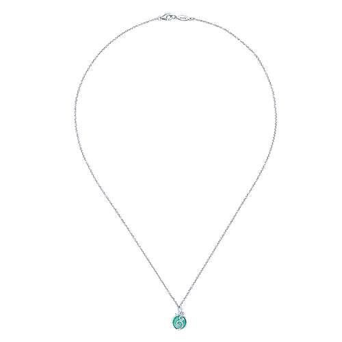 925 Silver Diamond Rock Crystal&green Onyx Fashion Necklace angle 2
