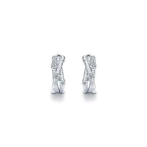 925 Silver Diamond Rope Huggie Earrings angle 3
