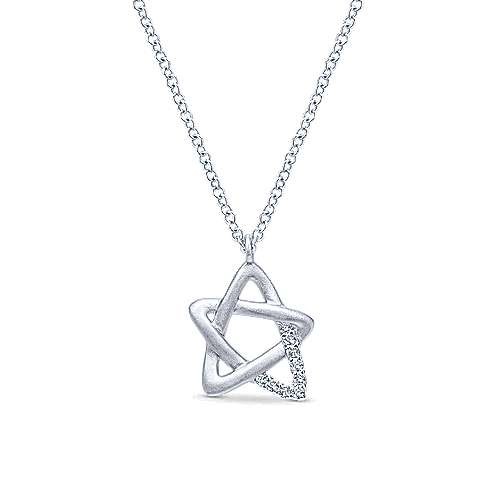 925 Silver Diamond Star Of David Necklace angle 1