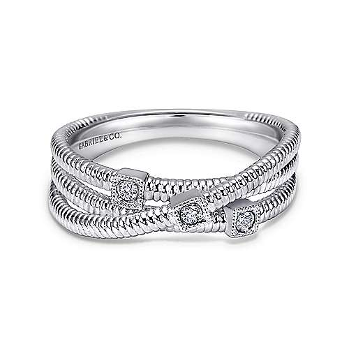 Gabriel - 925 Silver Scalloped Wide Band Ladies' Ring