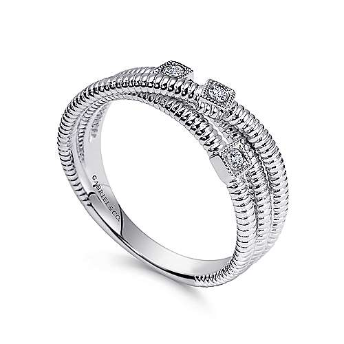 925 Silver Diamond Wide Band Ladies