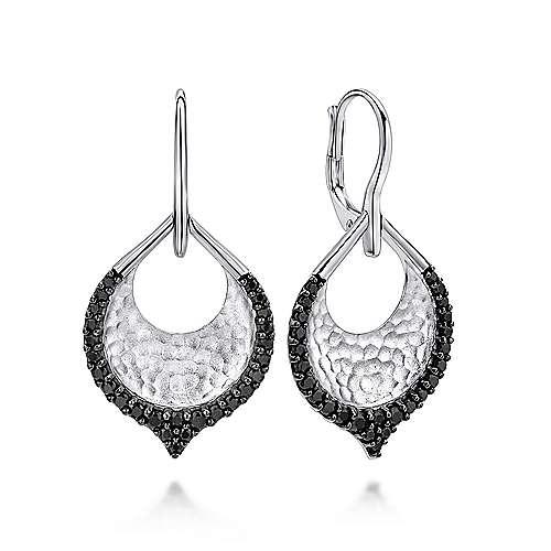 925 Silver Drop Black Spinel Earrings