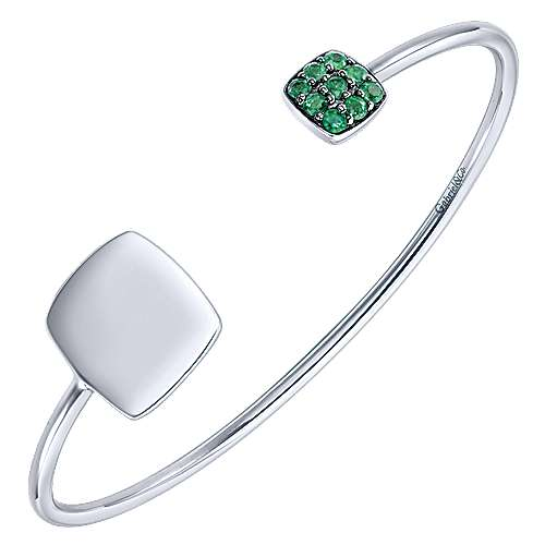 925 Silver Emerald Engravable Bangle angle 2