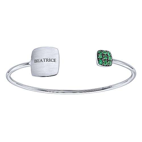 925 Silver Emerald Engravable Bangle angle 4