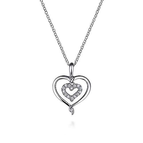925 Silver Eternal Love Heart Necklace angle 1