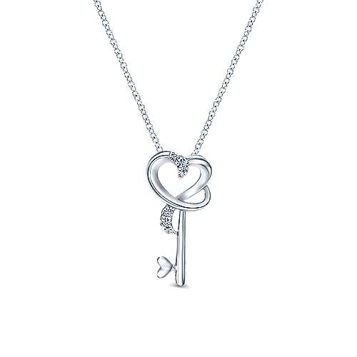 925 Silver Eternal Love Key Necklace angle 1
