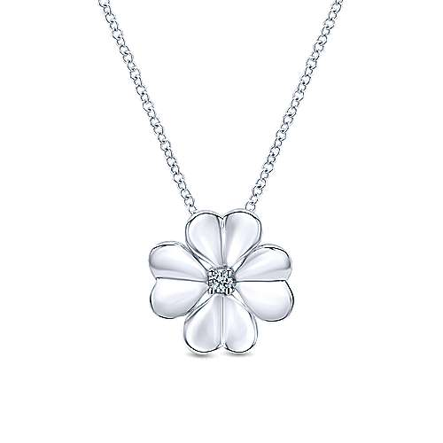Gabriel - 925 Silver Floral Fashion Necklace