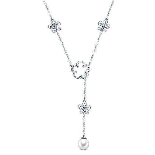 925 Silver Floral Lariat Necklace angle 1