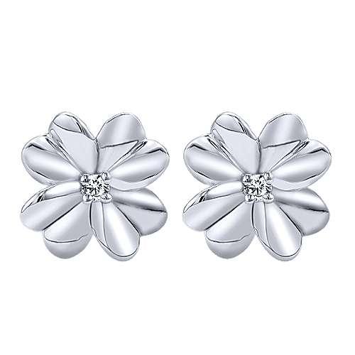 Gabriel - 925 Silver Floral Stud Earrings