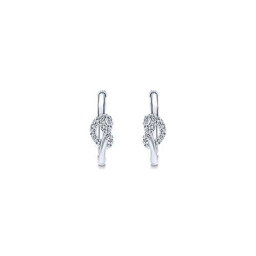 925 Silver French Pave 20mm Knotted White Sapphire Hoop Earrings