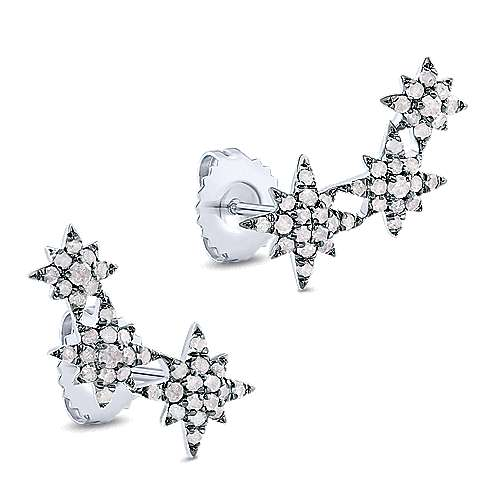 925 Silver Front Row Stud Earrings angle 2
